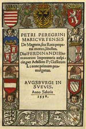 Achilles Gasser - Title page of the De magnete in the 1558 edition by Gasser.