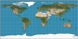 Equirectangular projection - Equirectangular projection of the world; the standard parallel is the equator (plate carrée projection).