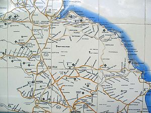 Whitby railway station - Image: Esk line tile map