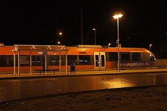 Langerwehe station - Euregiobahn service at night in Langerwehe