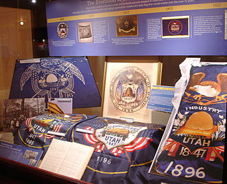 Flag of Utah - A display at the Utah State Capitol describing the history of the flag.