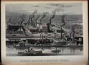 History of Newark, New Jersey - Balbach Smelting and Refining Company ca. 1870. Now the location of baseball fields at Riverbank Park.