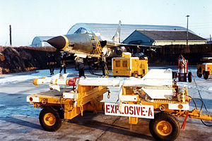 "Operation Combat Fox - An U.S. Air Force Republic F-105D Thunderchief of the 12th Tactical Fighter Squadron, 18th Tactical Fighter Wing, at Osan Air Base, Korea, during Operation ""Firefly"" in 1968 that was initiated after the ""Pueblo Incident"". Note that the aircraft is armed with six Mk 117 750 lb bombs and AIM-9B Sidewinder air-to-air missiles."