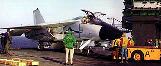 General Dynamics–Grumman F-111B - F-111B, BuNo 151974, on USS Coral Sea in July 1968. It crash landed at NAS Point Mugu, California on 11 October 1968 and was subsequently scrapped.