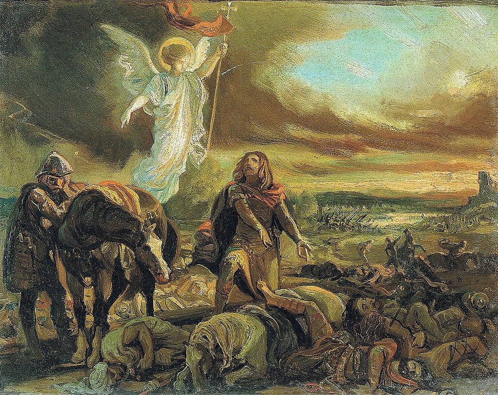 F. de Madrazo - 1840, Don Pelayo reconoce a Don Rodrigo tras la Batalla de Guadalete (Valencia, colección particular, 25 x 32 cm).jpg