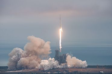 Falcon 9 and Dragon lift off from Launch Pad 39A for CRS-10 (32866357531).jpg