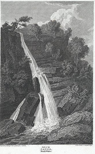 Pistyll Cain - Etching by Samuel Barenger of the Fall of the Cayne from a drawing by John Preston Neale