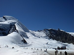 Saas-Fee - Summer ski area in Mittelallalin. Location of ski scene in the James Bond film, On Her Majesty's Secret Service