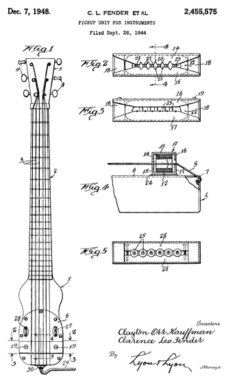 Fender Musical Instruments Corporation - Diagram of Leo Fender's lap steel guitar from 1944 patent application.