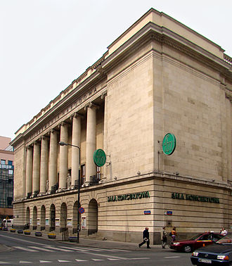 Warsaw National Philharmonic Orchestra - Warsaw Philharmonic Concert Hall today. Note, the front elevation colonnade over arcade has been recreated