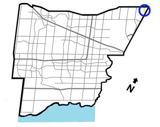 Finch Avenue - Finch Ave. (circled) in Mississauga