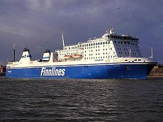 Finnlines - Finnlines' flagship M/S ''Finnstar'' departing Helsinki, April 2007.