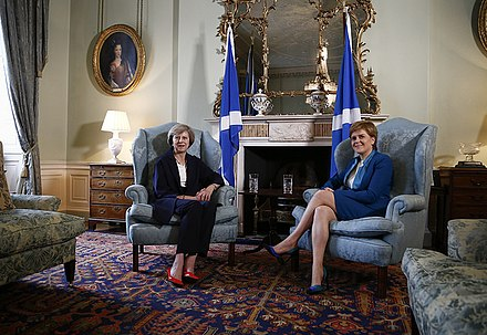 British Prime Minister, Theresa May and First Minister, Nicola Sturgeon, meeting at Bute House in 2016 First Minister meets the Prime Minister at Bute House.jpg