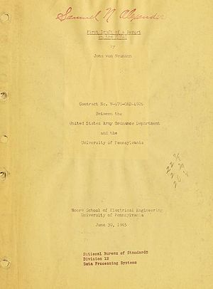 First Draft of a Report on the EDVAC - Title page the First Draft, copy belonging to Samuel N. Alexander, who developed the SEAC computer based on the report.