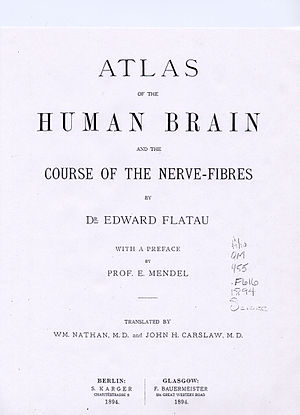 Edward Flatau - First page of Atlas of the human brain and the course of the nerve-fibres (1894)