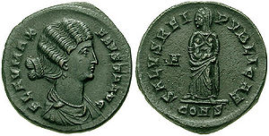 Fausta - Fausta, as Salus, holding her two sons, Constantine II and Constantius II.