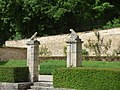 Fontenay Abbey - The Dovecote and the Kennels - dog sculptures (35023686793).jpg