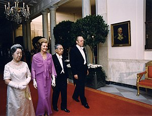 White tie - President of the United States Gerald Ford, First Lady Betty Ford, Japanese Emperor Hirohito and Empress Nagako during a state dinner, 1975