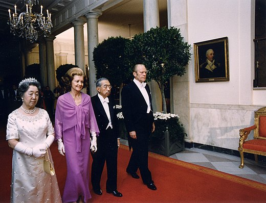 The Empress, First Lady Betty Ford, the Emperor, and President Gerald Ford at the White House before a state dinner held in honor of the Japanese head of state for the first time. October 2, 1975. Ford and Emperor1975.jpg