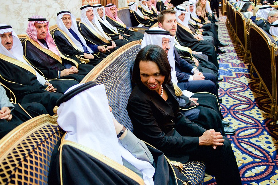 Former Secretary Rice Chats With a Member of the Saudi Royal Family