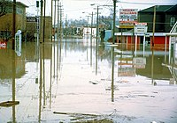 Superior Street during the disastrous floods Fort Wayne suffered in 1982.