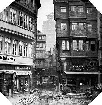 Altstadt (Frankfurt am Main) - Tunnel construction at the market, 1867