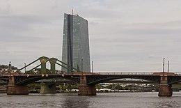 Frankfurt Am Main The European Central Bank From Alte Mainbrücke