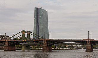 European Central Bank - Frankfurt am Main, the European Central Bank from Alte Mainbrücke