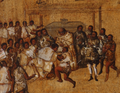 Fray Bartolomé de Olmedo bautizando a las mujeres ofrecidas por Xicomecóatl, Miguel González (~1696).png
