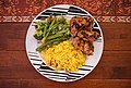 Fried chicken with vegetables and rice.jpg