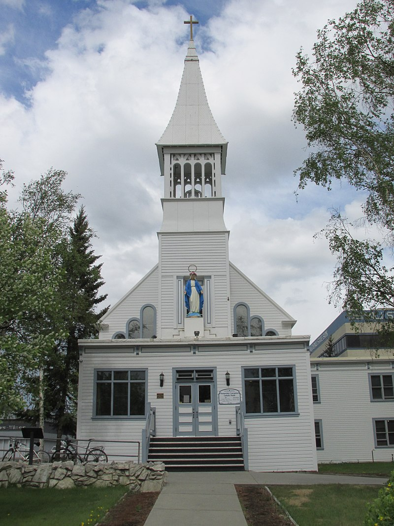 Front entrance of Immaculate Conception Church, Fairbanks, Alaska.jpg