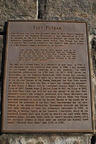 Fort Putnam - Image: Ft. Putnam NY Info Plate 2