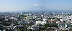 Mount Fuji and Fuji City seen from city hall