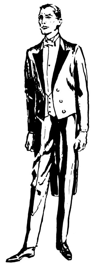 Double-breasted - A double-breasted open-front tailcoat