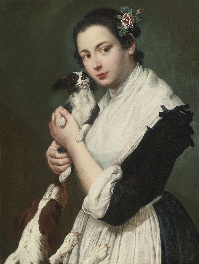 GIACOMO CERUTI MILAN 1698 - 1767 A YOUNG LADY WITH TWO DOGS.jpg