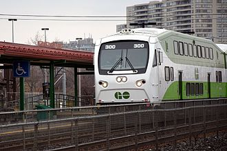 Commuter rail in North America - A rebuilt GO Transit Bombardier cabcar at Toronto's Scarborough Station.