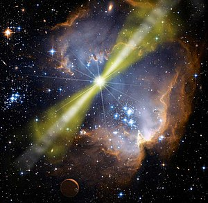 One-way speed of light - Artist's illustration of a bright Gamma-ray burst. Measurements on light from such objects were used to show that the one-way speed of light does not vary with frequency.