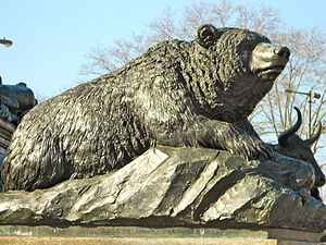 Eakins Oval - Bear at the base of the statue.