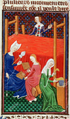 Gaia Caecilia or Tanaquil and other women, at a loom, spinning. De claris mulieribus. Early 15th century. GIOVANNI BOCCACCIO.png