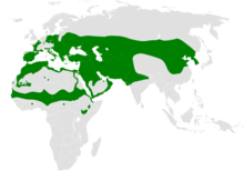 Approximate range in green shown on a map of the world