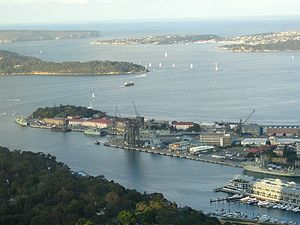 Garden Island, New South Wales - Garden Island from Sydney Tower, in 2007