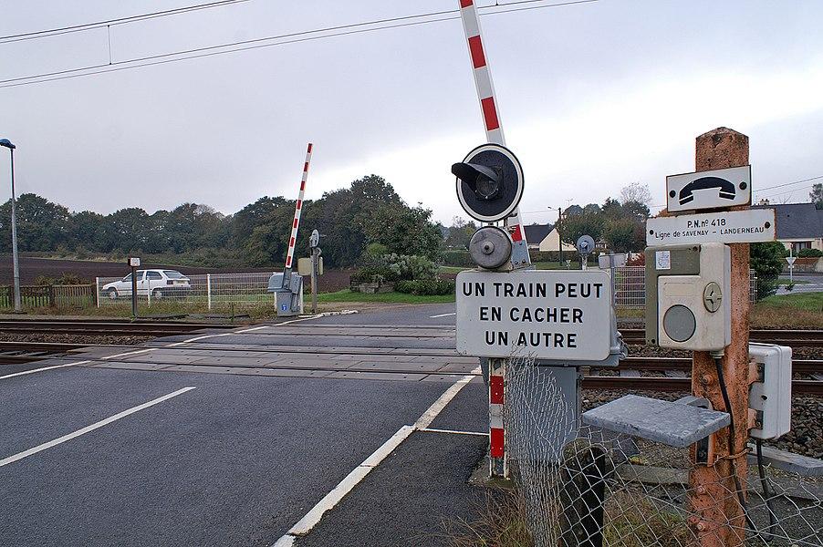 Détail du passage à niveau de la gare de La Vraie-Croix.