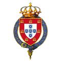 Garter encircled arms of Louis Philip, Duke of Braganza, Crown Prince of Portugal.png