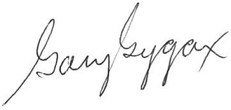 Gary Gygax - Image: Gary Gygax's Signature