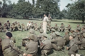 Douglas Graham (British Army officer) - General Sir Bernard Montgomery addressing the men of the 50th Division before decorating them for gallantry during the Normandy landings. Pictured standing just behind him is Major General Douglas Graham, GOC of the 50th Division.