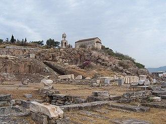 Eleusis - View over the excavation site towards Eleusis.