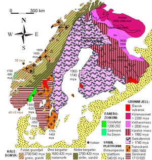 Republic of Karelia - Geological map of the Nordics (in Norwegian)