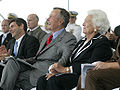 George H. W. Bush and Barbara Bush laugh during George H.W. Bush (CVN 77) christening.jpg