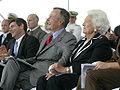George H. W. Bush and Barbara Bush laugh during George H.W. Bush (CVN 77) christening.jpg