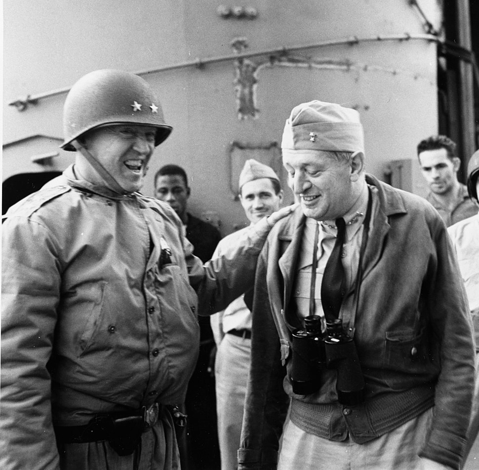 George S. Patton and Rear Admiral H. Kent Hewitt cropped